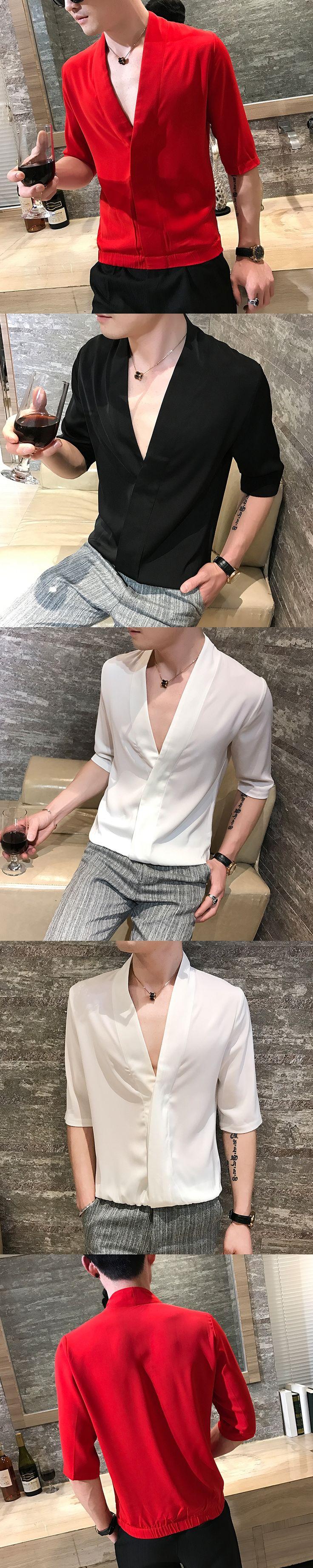 Deep V-Neck T shirts Mens Red T shirts Black Sexy Club Outfits Camisa Social Masculina Casual Mens t shirts fashion 2017 White