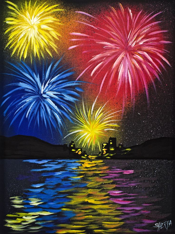 Fireworks over water acrylic painting for beginners step by step by the Artsherpa for a Free Youtube tutorial Featuring Liquitex Artist Spraypaint