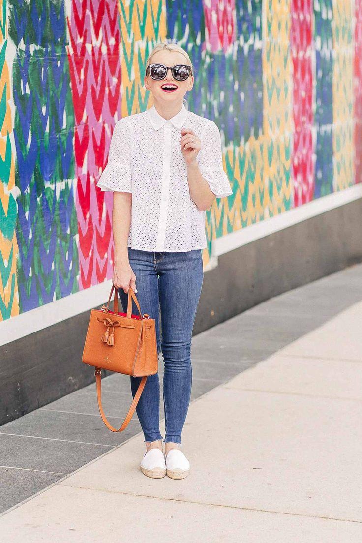 White Eyelet Bell Sleeve Shirt For Summer - Poor Little It Girl