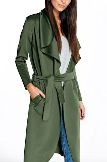 Boohoo Katie Shawl Collar Belted Duster Size S/M (Black & Khaki) http://go.magik.ly/r/arzanblogs/16867/