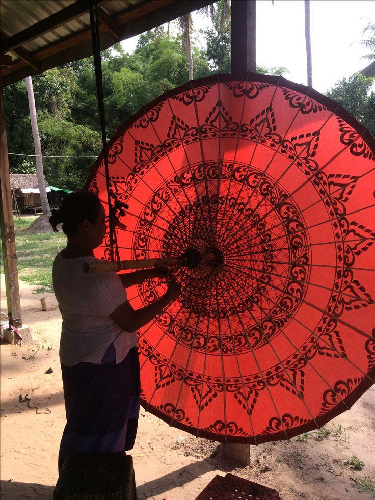 Making traditional umbrellas at Pathein