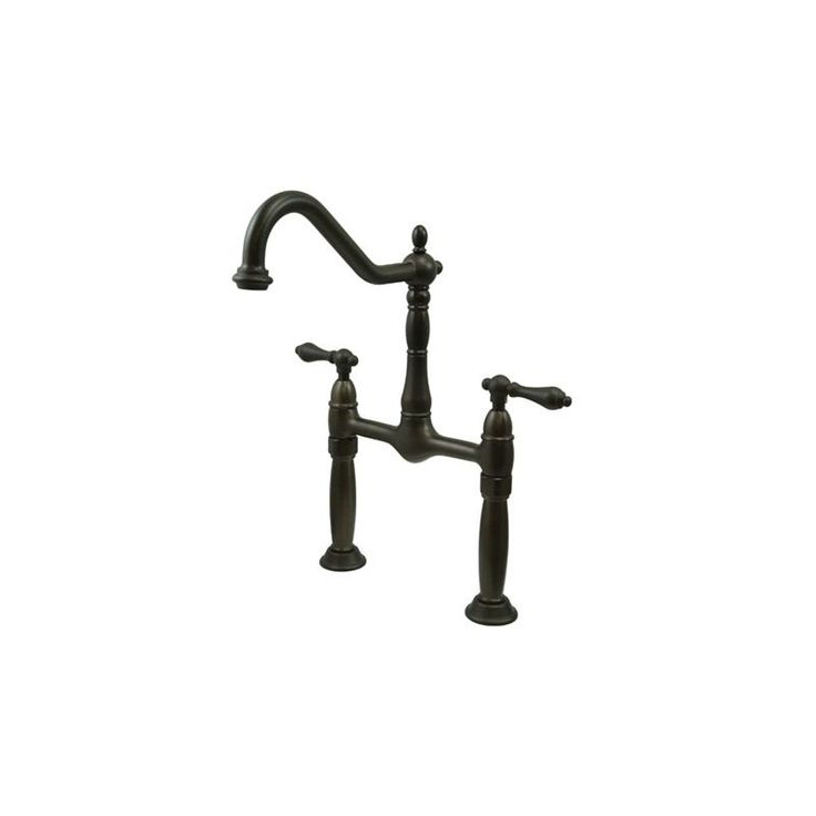 Kingston Brass KS107.AL Victorian Vessel Faucet with AL Metal Lever Handles Oil Rubbed Bronze Faucet Lavatory Double Handle