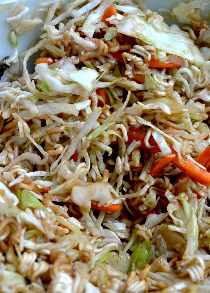 Healthy Asian Slaw Recipe with Ramen Noodles easy side dish or salad to bring to BBQs and picnic. Great for the grill