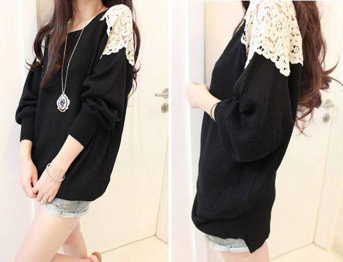 Lace Embroidered Stitching Long Sections Asymmetrical Hem Spandex Color Matching Sweater For Women (BLACK,ONE SIZE) | Sammydress.com