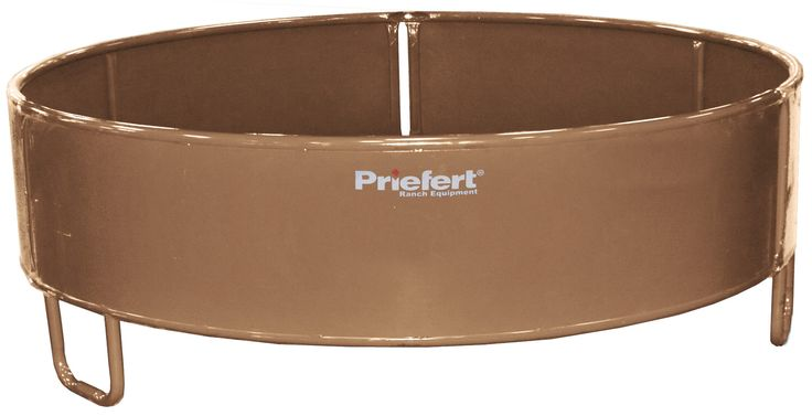 "Priefert's round bale feeder for horses is powder-coated brown and stands 34"" high. It features sheeted sides and is also the ideal feeder for horned cattle."