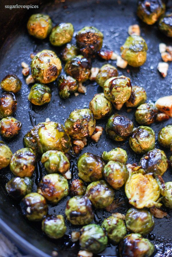 Roasted Brussels Sprouts with Balsamic Cream and Hazelnuts - SugarLoveSpices