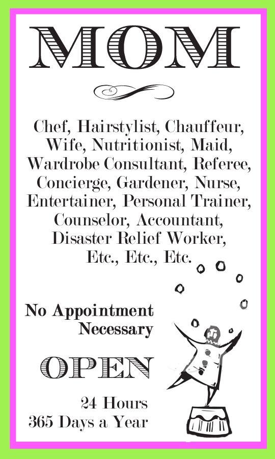Mom Job Description! :-)