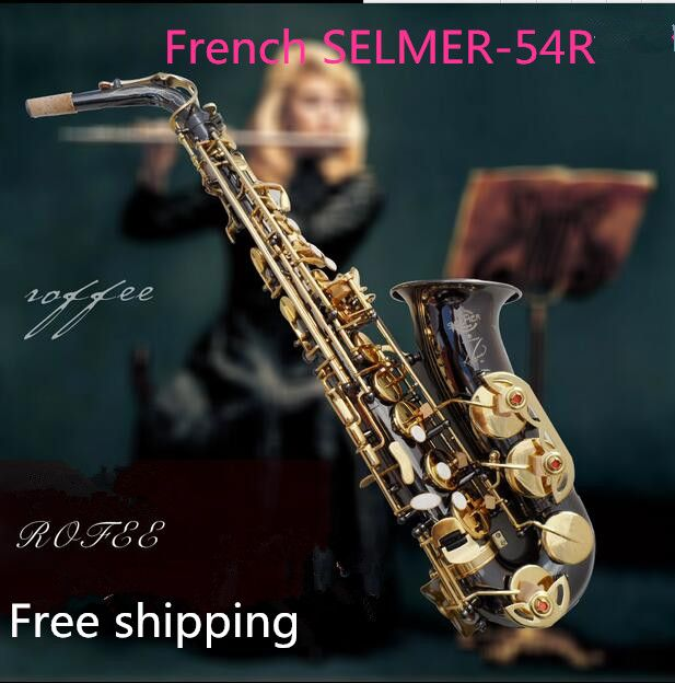 EMS/DHLHot France SELMER 54 E-flat alto saxophone black nickel music sax gold keys+ Mouthpiece saxophone free shipping