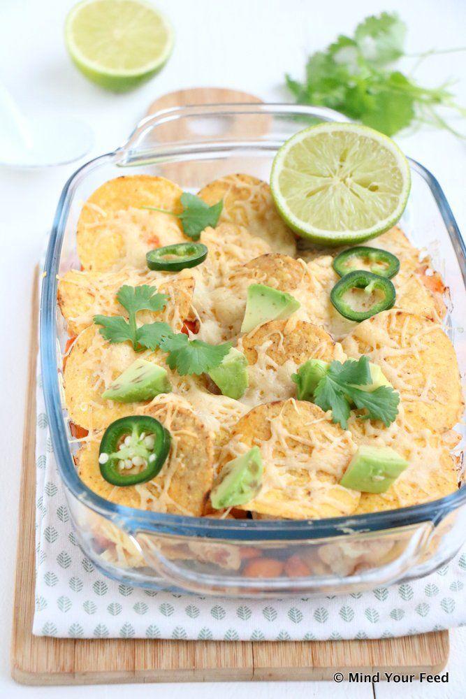 Zoete aardappel nacho ovenschotel - Mind Your Feed