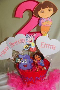 Centro de mesa de cumpleaños de Dora la exploradora