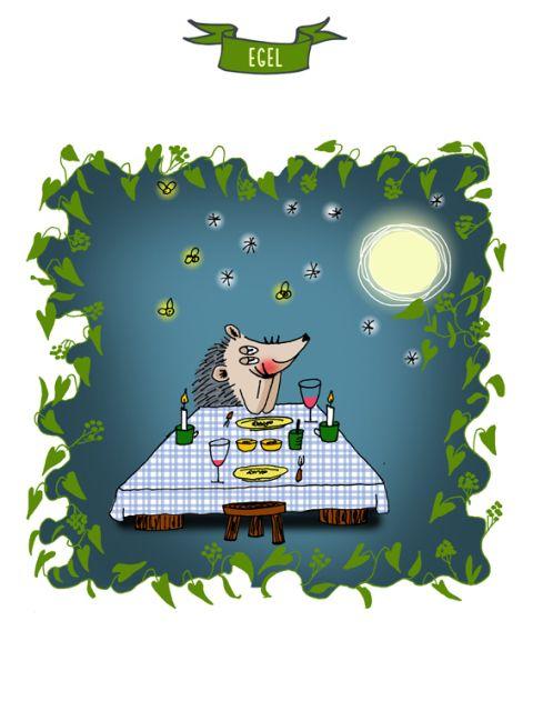 Dierenprenten. Verliefd egeltje.  Bedoeld als inspiratie voor kinderen om er een verhaal bij te schrijven.