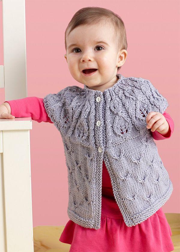 c86a2ed77 Free Knitting Pattern for Leaf Yoke Baby Cardigan - Baby sweater ...