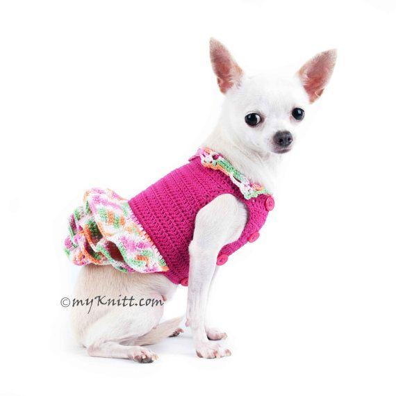 Arco iris perro vestido perro rosa de Dama de honor por myknitt