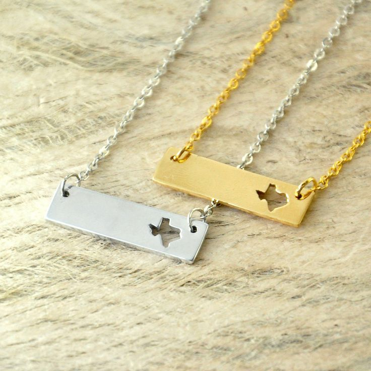 Texas  bar necklace cut out map Necklace state necklace state bar charm 2 Colors by 100PHandmade on Etsy