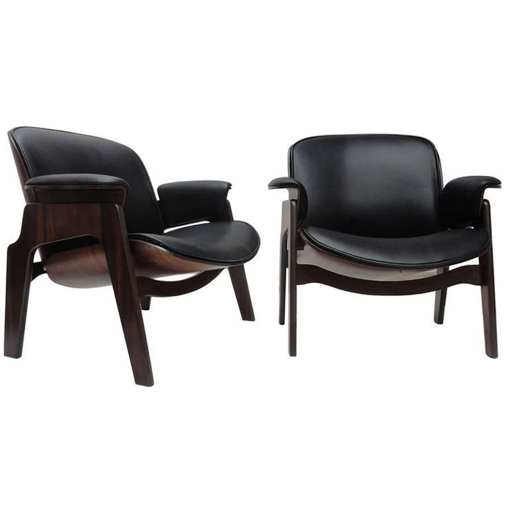Stunning Sculptural Chairs by Ico Parisi in Leather and Rosewood, Published ca1955