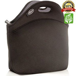 Amazon.com: LARGE Neoprene Lunch Bag - Large & Thick Insulated Neoprene Tote - Heavy Duty Zipper - Premium Stitching - 13 x 12.5 x 6.5 inches - Lunch Bag for Men Women Kids & Nurses - Best Travel Bag (Black): Kitchen & Dining