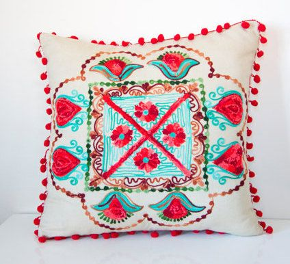 Red Turkish Traditional Decorative Pillow, Bohemian Cushion Cover, Decorative Pillow, Embroidered Pillow, Cotton Pillow, Authentic Cushion