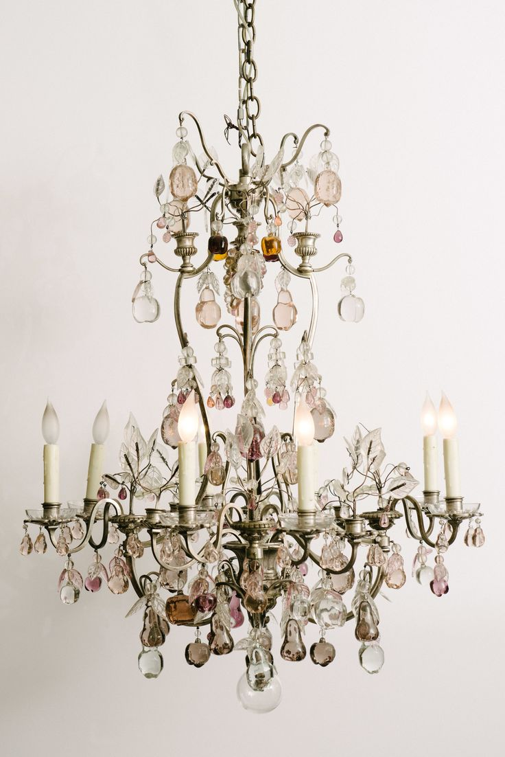784 best swingin chandeliers images on pinterest light fixtures french louis xv style silvered bronze chandelier draped in a variety of elegant colored baccarat crystal apples pears and pomegranates arubaitofo Gallery