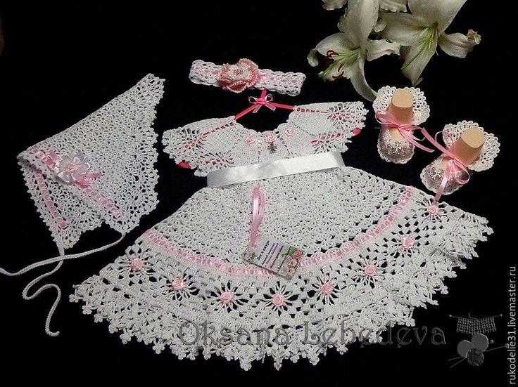 Купить Платье пинетки Морозные Узоры из хлопка крючком Белый Фиолетовый - нарядное платье