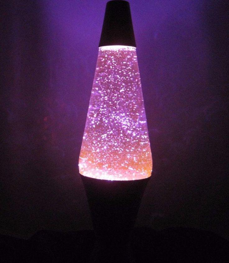 "Purple Lava Light Glitter Lamp 16"" Tall Silver Aluminum WATCH THE VIDEO"