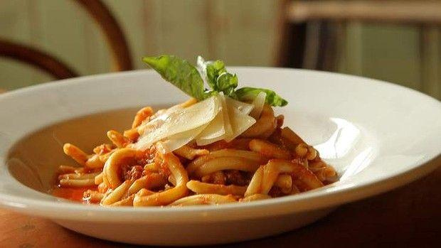 Strozzapreti with ragu at Pasta Emilia.