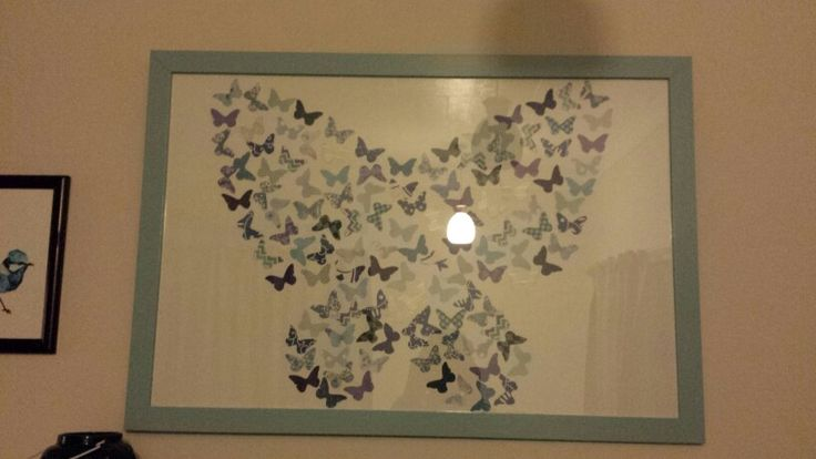 Artwork created for Moniques room - recycled frame, scrapbook paper butterflys