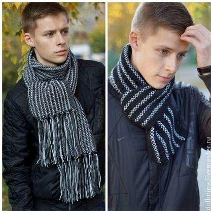 Инструкция по вязанию Мужские шарфы - чёрный,черный шарф,серый шарф,мужской шарф