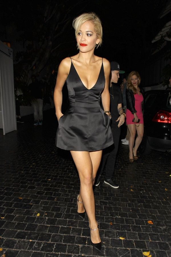 Rita Ora looks amazing in black leaving Chateau Marmont