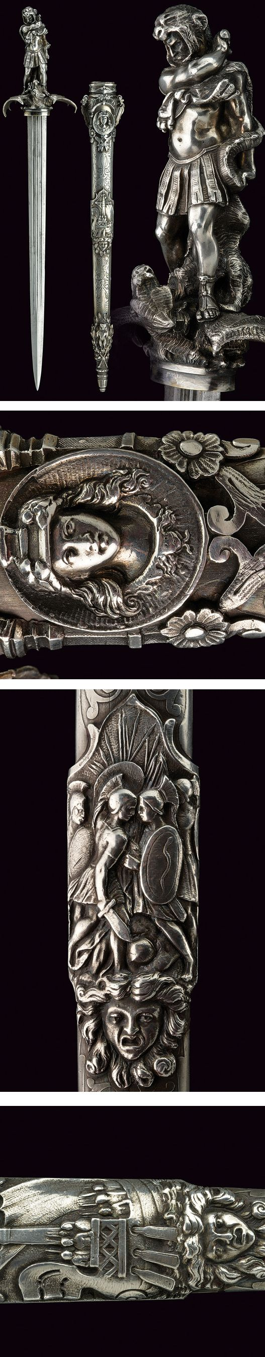 """An important """"heroic style"""" silver mounted dagger,    provenance: Europe dating: 19th Century."""