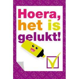 Hoera, het is gelukt! - markeerstift | Muller wenskaarten en heel veel andere geslaagd kaarten! Snel in huis.. http://www.mullerwenskaarten.nl/index.php/momenten/geslaagd.html