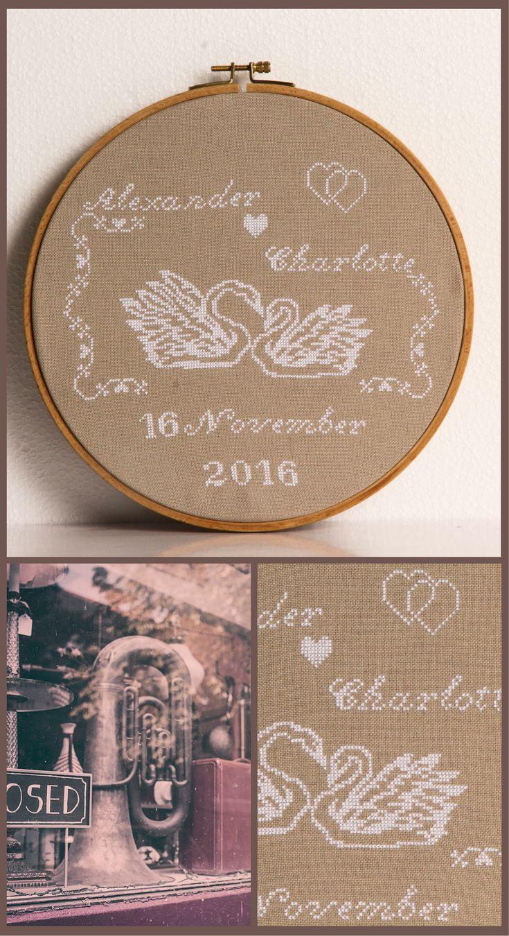 Monochrome Wedding cross stitch pattern in vintage style. Marriage point de croix. Wedding swans cross stitch. Wedding sampler cross stitch. Engagement cross stitch pattern. Свадебная вышивка крестом
