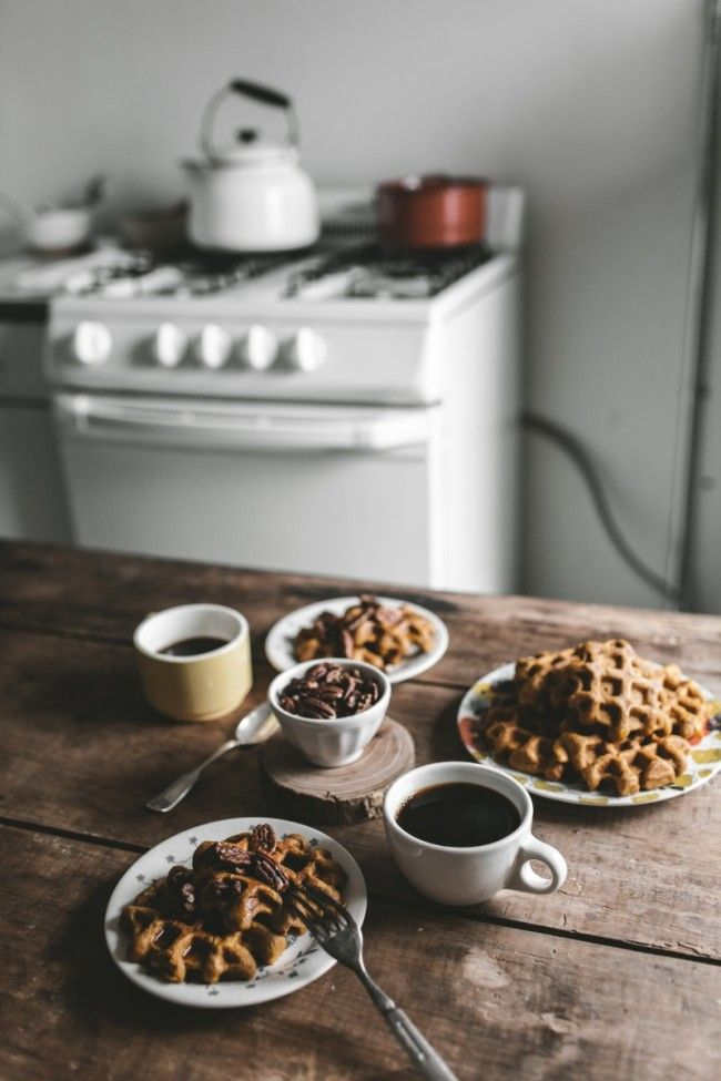 Pumpkin Spice Belgian Waffles + Toasted Pecans - offbeat + inspired