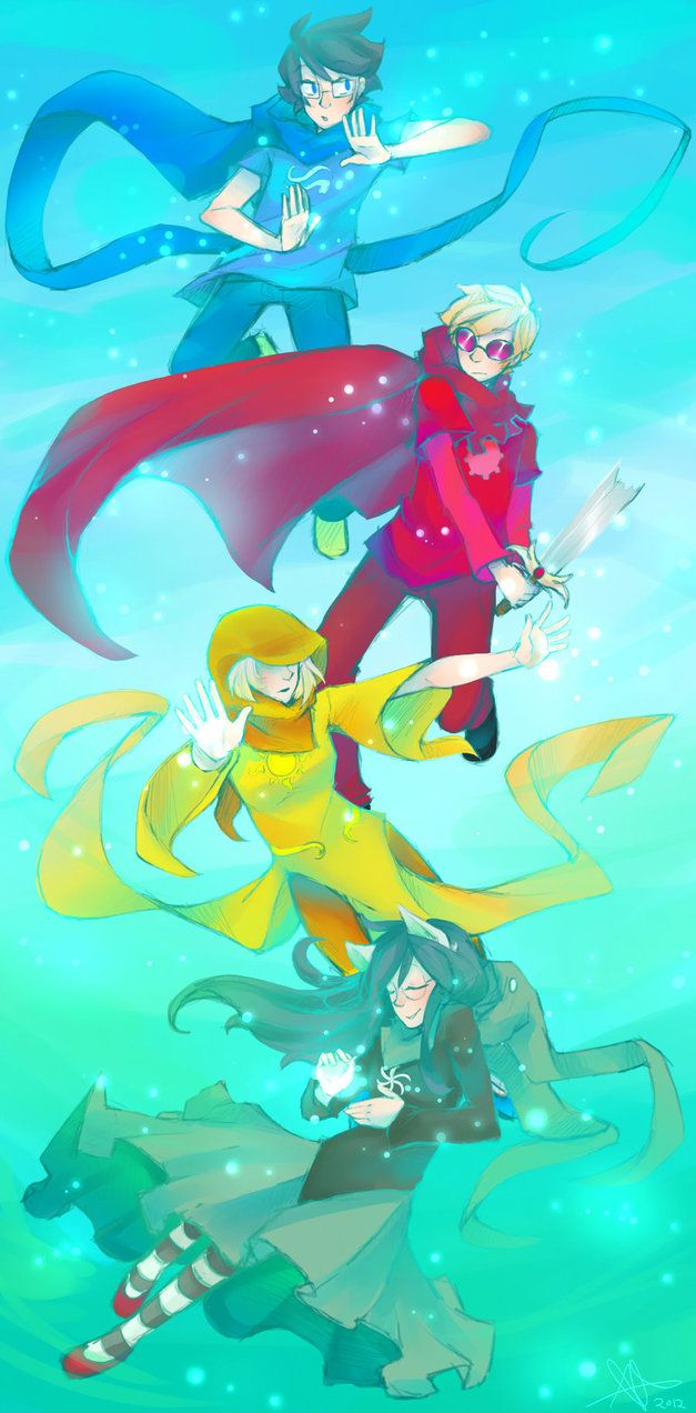 Homestuck John-Heir of Breath, Dave-Knight of Time, Rose-Seer of Light and Jade-Witch of Space