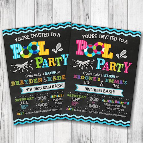 Pool Party Invitation – Summer Pool Party Invitation – Girl Pool Party Birthday Invite – Boy Pool Party Birthday – Summer Party Invite – Double Sided –