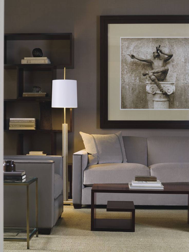 Living room - Sophisticated tones & furnishings are elegantly harmonized.  (re-pinned photo - Thomas Pheasant.)