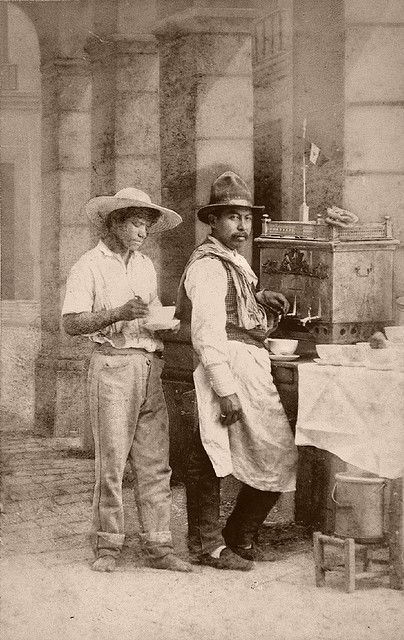 Mexican coffee merchants  From a scarce CDV album of mexican occupationals made by the studio Cruces y Campa in the 1860s. (Vendedor de café)
