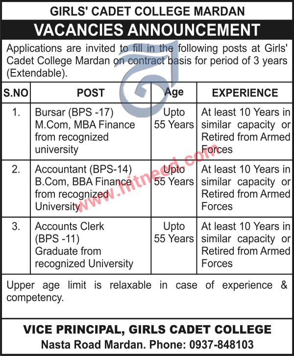 GIRLS CADET COLLEGE MARDAN  VACANCIES ANNOUNCEMENT  Applications are invited to fill in the following posts at Girls Cadet College Mardan on contract basis for period of 3 years (Extendable).   #Accountant #Accounts Clerk #Cadet College Jobs #Mardan Jobs #Non-Teaching Jobs
