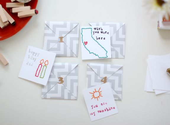 DIY: MINI EMBROIDERED CARDS AND HANDMADE ENVELOPES    This post is spMinis Embroidered, Embroidered Cards, Handmade Cards, Cards Minicards20, Note Cards, Homemade Cards, Diy Cards, Cards Handmade, Handmade Envelopes