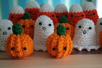 cute crochet pumpkin, ghost, and candy corn