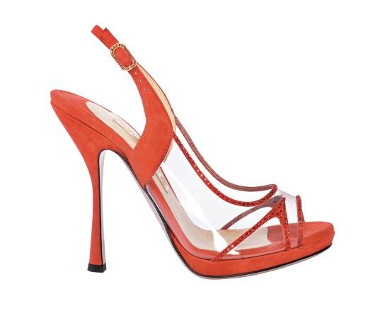 "Nando Muzi red Sandal ""Illusioni Collection""  We like Platic!"