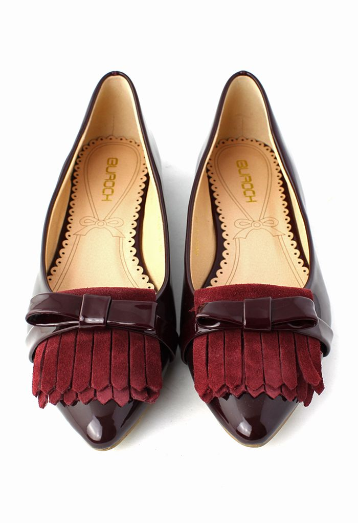 Tassels Bow Pointed Flat Shoes in Wine Red