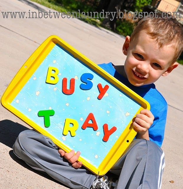 Toddler busy tray. Spray paint an old cookie sheet pan and use it as a travel tray. Magnetic things will stick to it and kids can use it as a tray to eat on, or as a table in the car to color on. You can even make the back a chalkboard that they can use and reuse. BEST CHEAP TRAVEL GIFT EVER!
