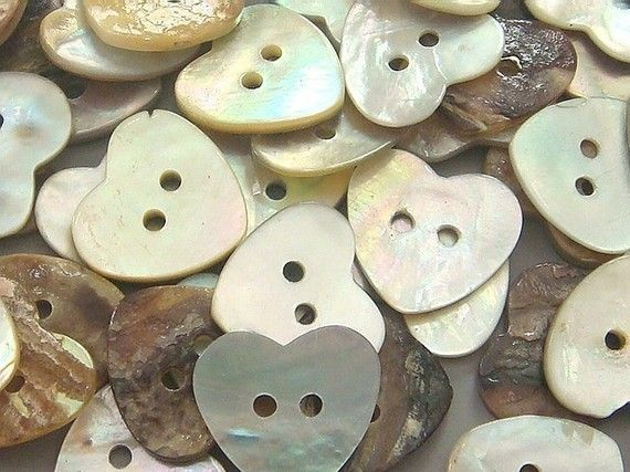 Heart-Shaped Mother of Pearl Buttons; Available at Etsy.com by TWPMango; 50pcs for $3.50USD.