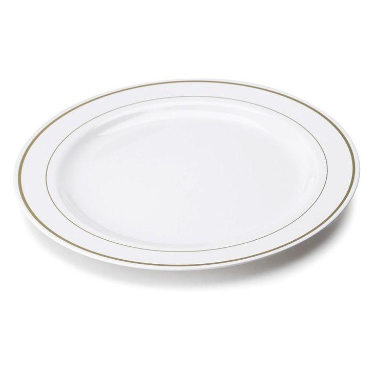 grande assiette plastique rigide blanche liseré or (26cm)