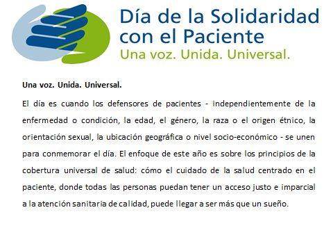 Día de la solidaridad con el paciente!!! Unámonos todos!!!