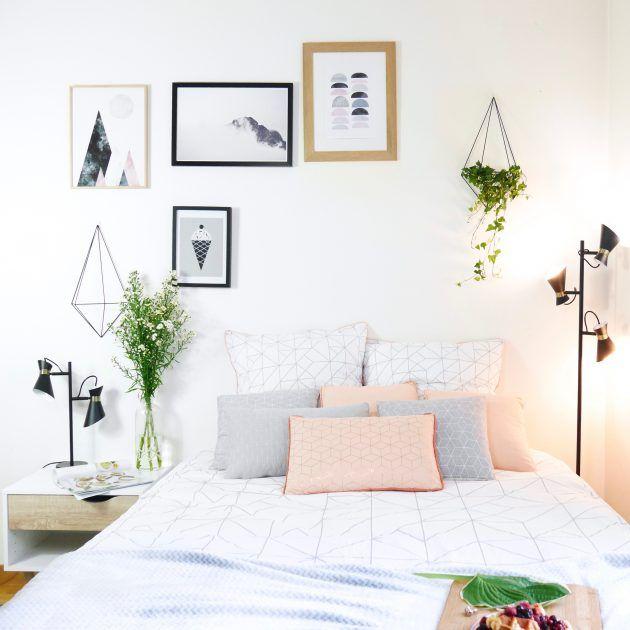 chambre d'ado fille decoration moderne bleu pastel rose poudré