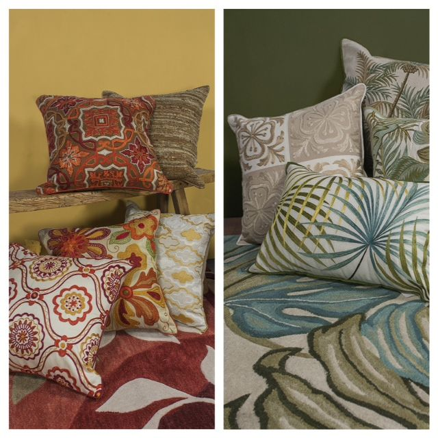 Which #home #design theme of #pillows and #rugs best suits your taste? Left or right?
