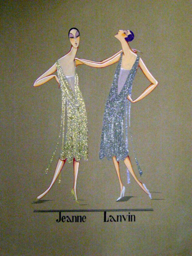 Croquis de robes lamées or & argent signé Jeanne Lanvin http://www.vogue.fr/thevoguelist/lanvin/152#