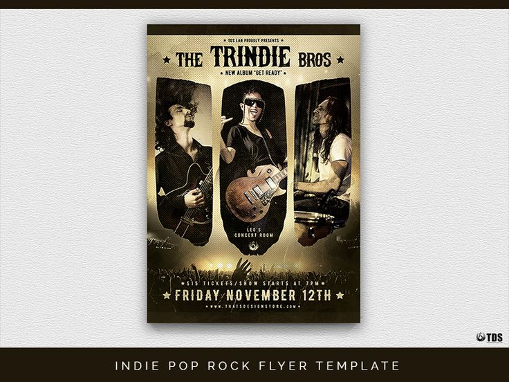 Indie Pop Rock Flyer Template:   INDIE POP ROCK FLYER TEMPLATE:  - 1 Photoshop PSD file 1 help file. - A4 size (21x29.7 cm) or (8.3x11.7 inch) with bleed (21.6x30.3 cm) or (8.5x11.9 inch). - Print Ready (CMYK 300 DPI bleed). - Layers are labeled color coded and organized in groups for easy navigation. - Very Easy pictures replacement via smart object. Pictures on the preview are not included. - Free Fonts used.  DOWNLOAD: - http://ift.tt/2D0BWoi  Get unlimited access and unlock All…