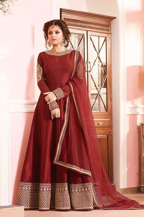 Brick Red Silk Anarkali Suit  #Anarkalisuits #Anarkalisuit #likeadiva